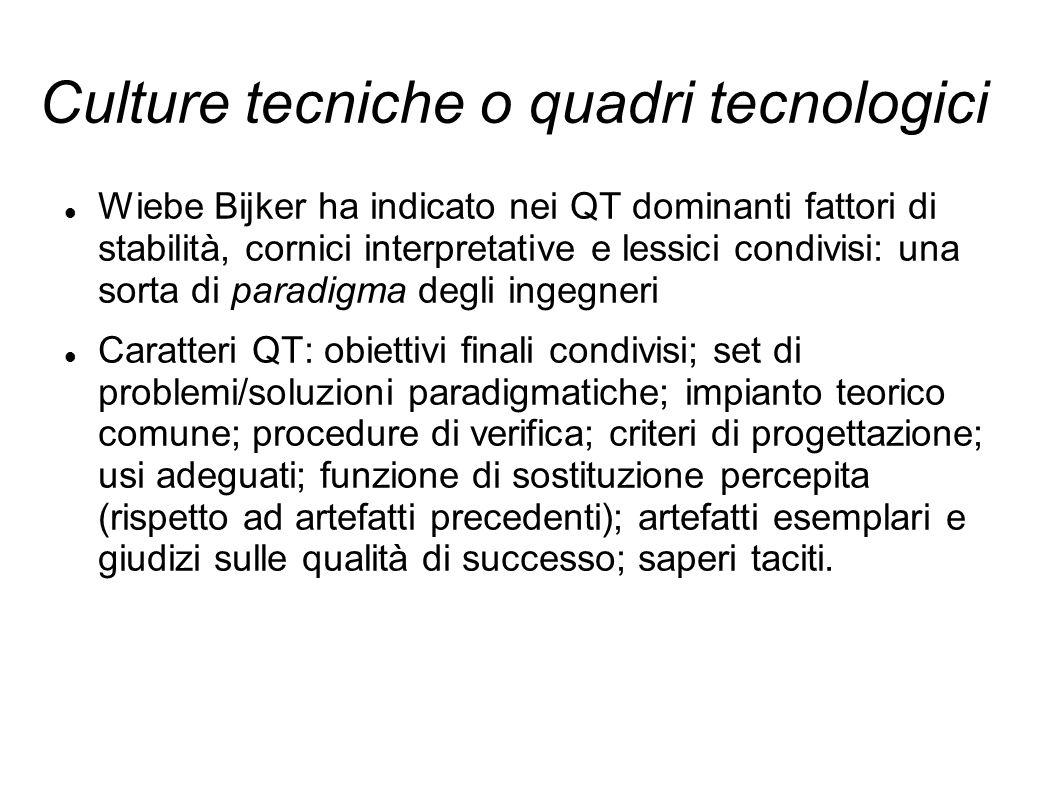 Culture tecniche o quadri tecnologici Wiebe Bijker ha indicato nei QT dominanti fattori di stabilità, cornici interpretative e lessici condivisi: una