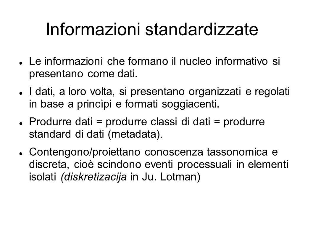 Informazioni standardizzate Le informazioni che formano il nucleo informativo si presentano come dati. I dati, a loro volta, si presentano organizzati