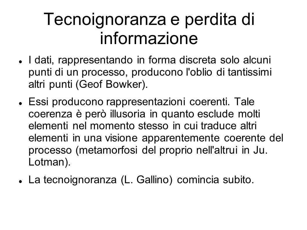 Tecnoignoranza e perdita di informazione I dati, rappresentando in forma discreta solo alcuni punti di un processo, producono l'oblio di tantissimi al