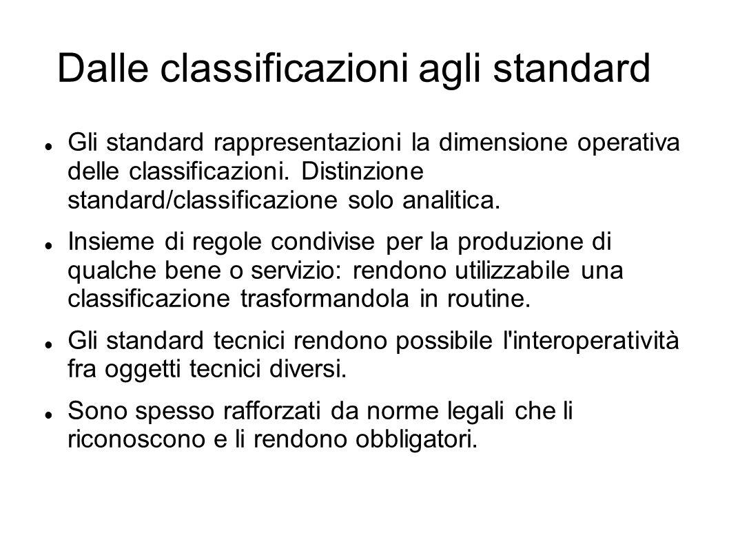 Dalle classificazioni agli standard Gli standard rappresentazioni la dimensione operativa delle classificazioni. Distinzione standard/classificazione