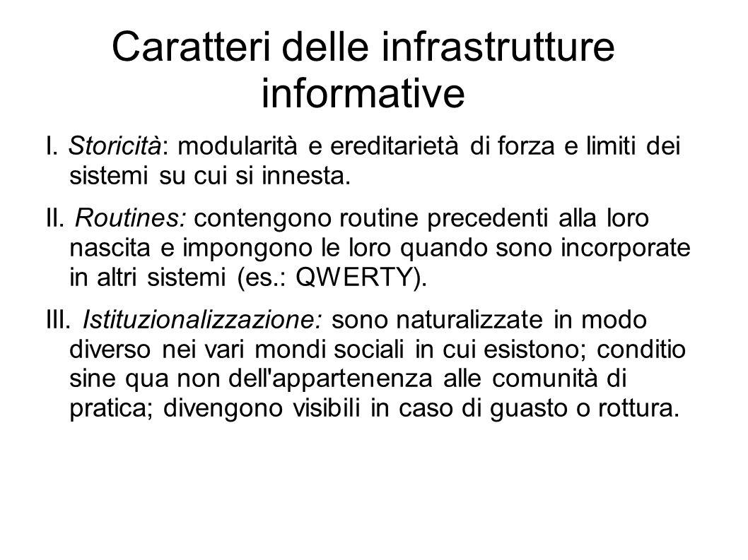 Caratteri delle infrastrutture informative I. Storicità: modularità e ereditarietà di forza e limiti dei sistemi su cui si innesta. II. Routines: cont