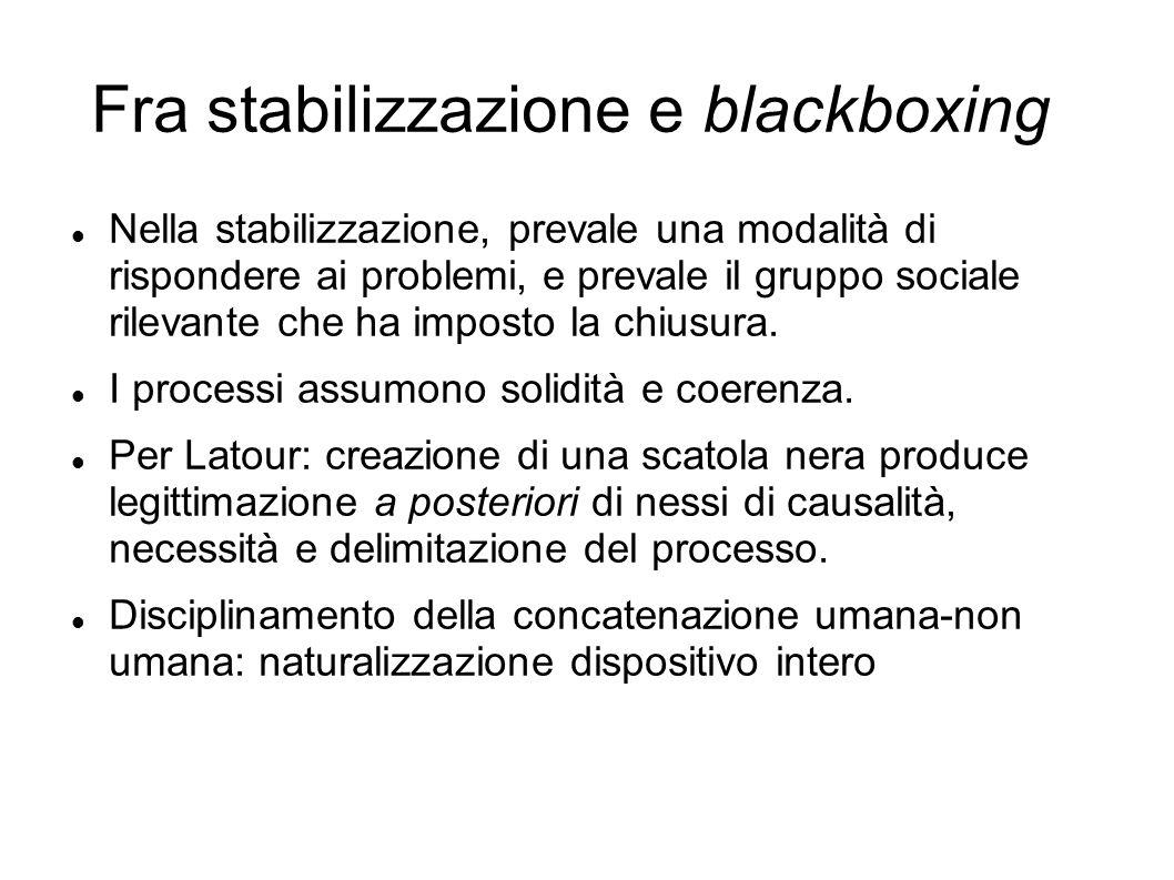 Fra stabilizzazione e blackboxing Nella stabilizzazione, prevale una modalità di rispondere ai problemi, e prevale il gruppo sociale rilevante che ha