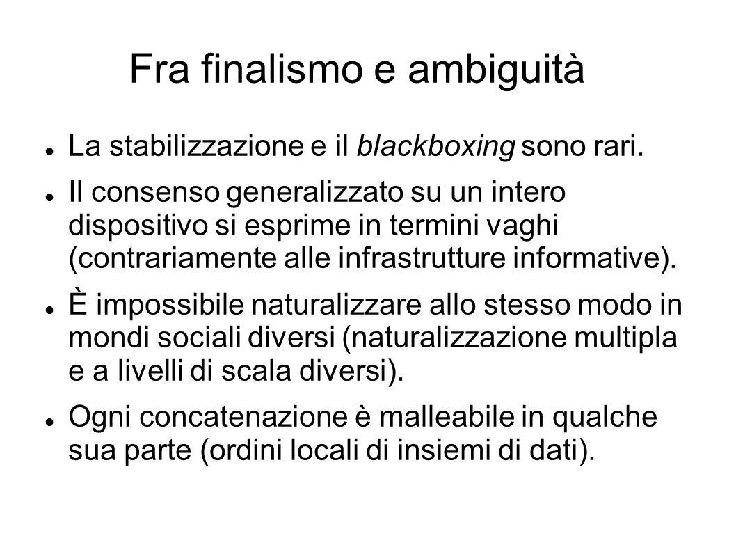 Fra finalismo e ambiguità La stabilizzazione e il blackboxing sono rari. Il consenso generalizzato su un intero dispositivo si esprime in termini vagh