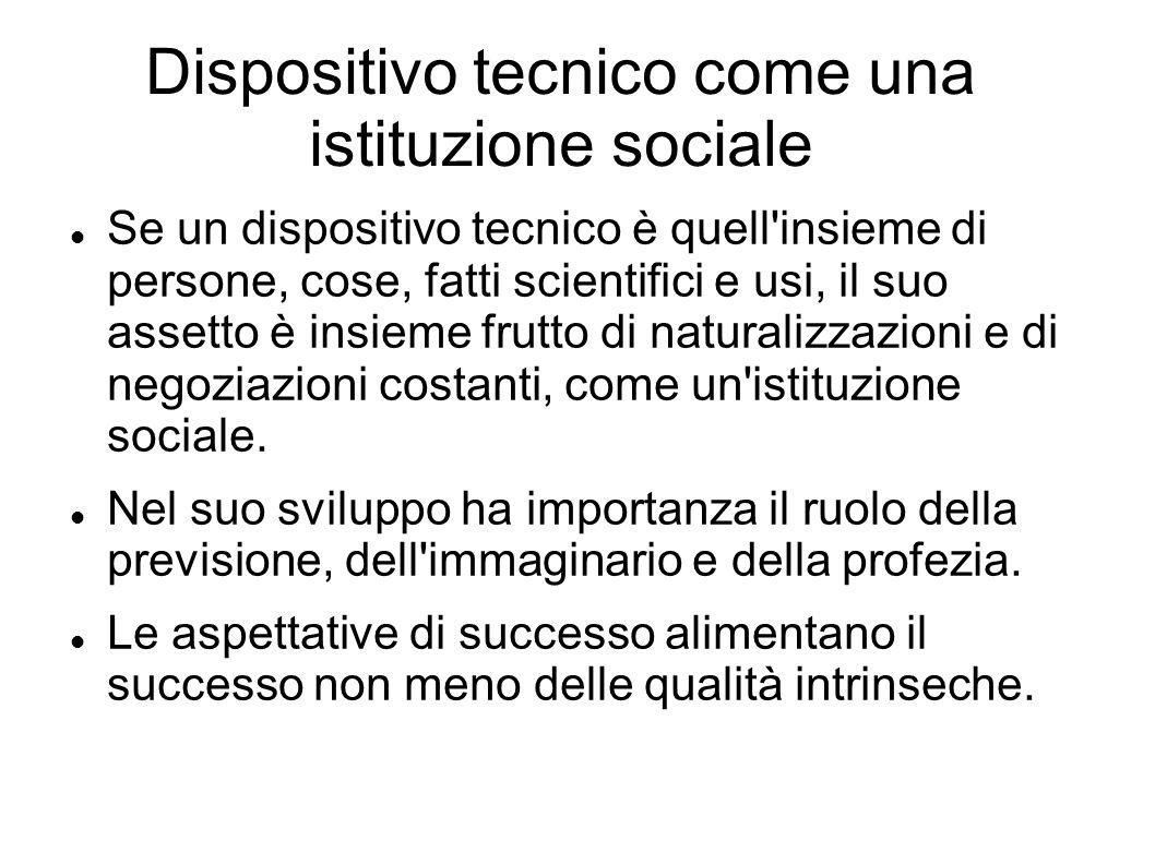 Dispositivo tecnico come una istituzione sociale Se un dispositivo tecnico è quell'insieme di persone, cose, fatti scientifici e usi, il suo assetto è