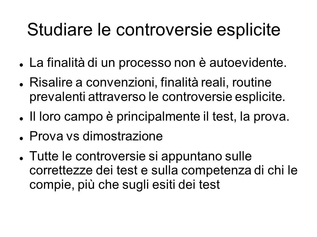 Studiare le controversie esplicite La finalità di un processo non è autoevidente. Risalire a convenzioni, finalità reali, routine prevalenti attravers
