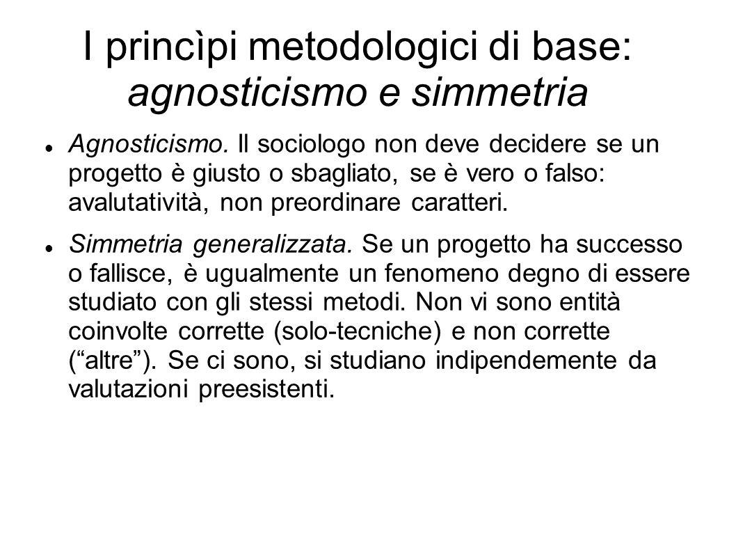 I princìpi metodologici di base: agnosticismo e simmetria Agnosticismo. Il sociologo non deve decidere se un progetto è giusto o sbagliato, se è vero