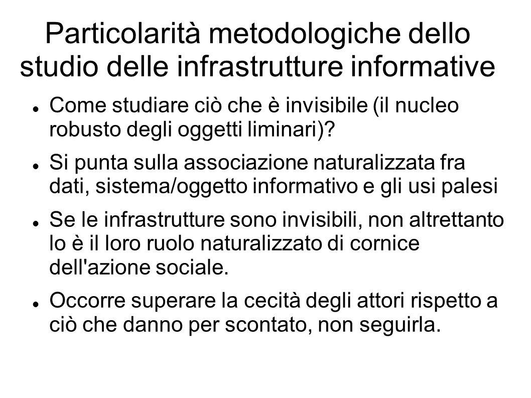 Particolarità metodologiche dello studio delle infrastrutture informative Come studiare ciò che è invisibile (il nucleo robusto degli oggetti liminari