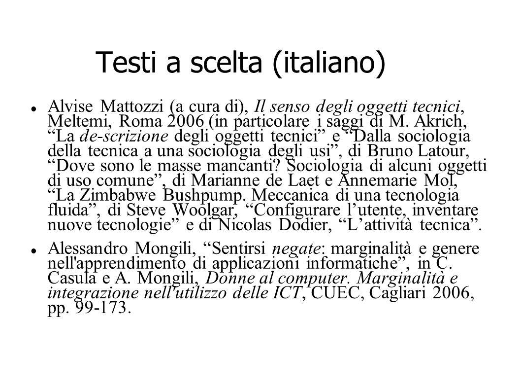 Testi a scelta (italiano) Alvise Mattozzi (a cura di), Il senso degli oggetti tecnici, Meltemi, Roma 2006 (in particolare i saggi di M. Akrich, La de-