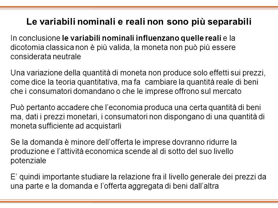 Le variabili nominali e reali non sono più separabili In conclusione le variabili nominali influenzano quelle reali e la dicotomia classica non è più
