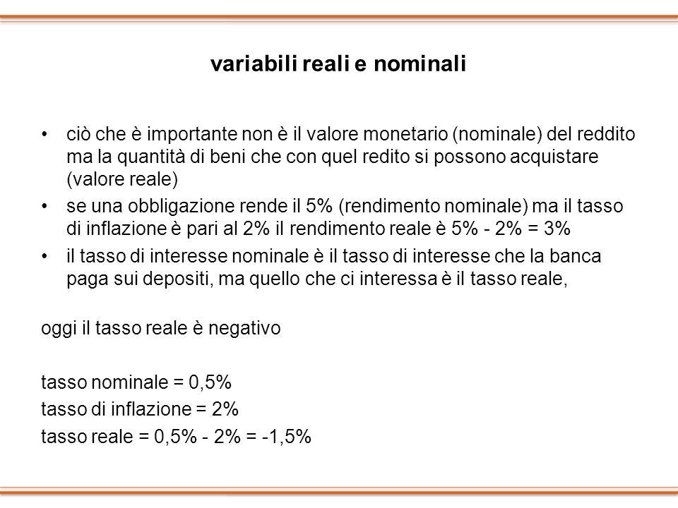 variabili reali e nominali ciò che è importante non è il valore monetario (nominale) del reddito ma la quantità di beni che con quel redito si possono
