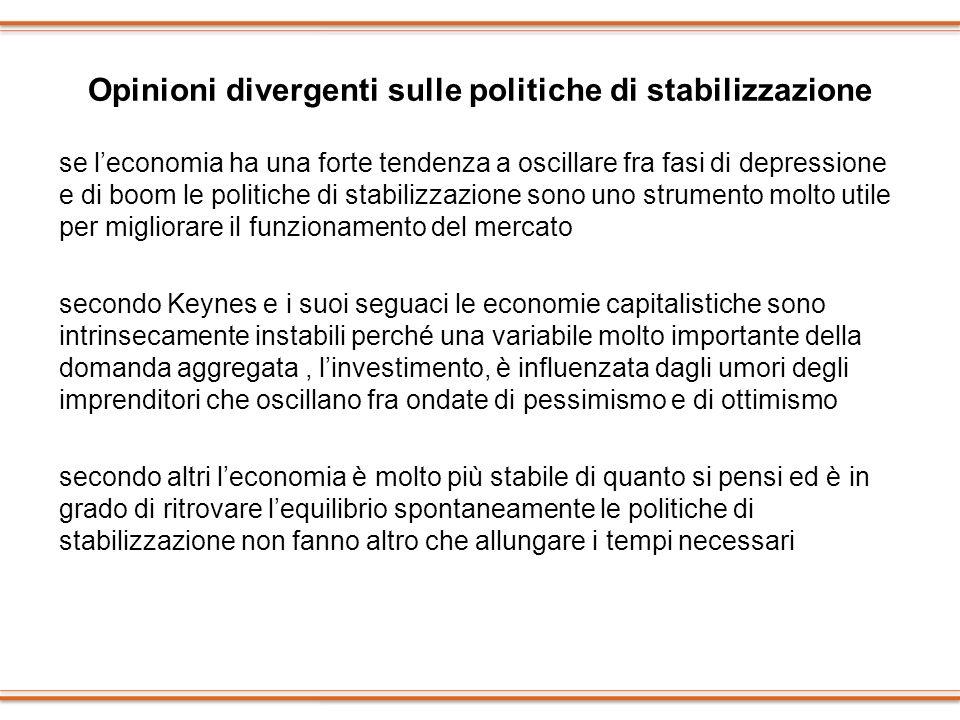 Opinioni divergenti sulle politiche di stabilizzazione se leconomia ha una forte tendenza a oscillare fra fasi di depressione e di boom le politiche d