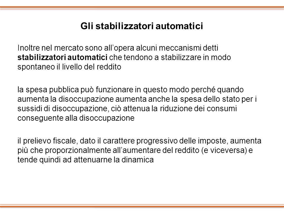 Gli stabilizzatori automatici Inoltre nel mercato sono allopera alcuni meccanismi detti stabilizzatori automatici che tendono a stabilizzare in modo s
