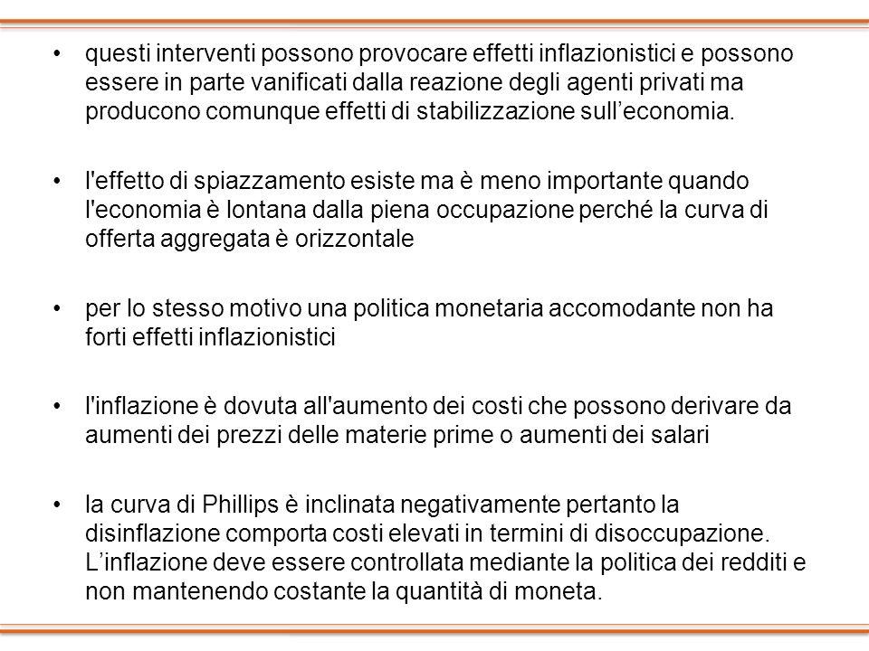 questi interventi possono provocare effetti inflazionistici e possono essere in parte vanificati dalla reazione degli agenti privati ma producono comu