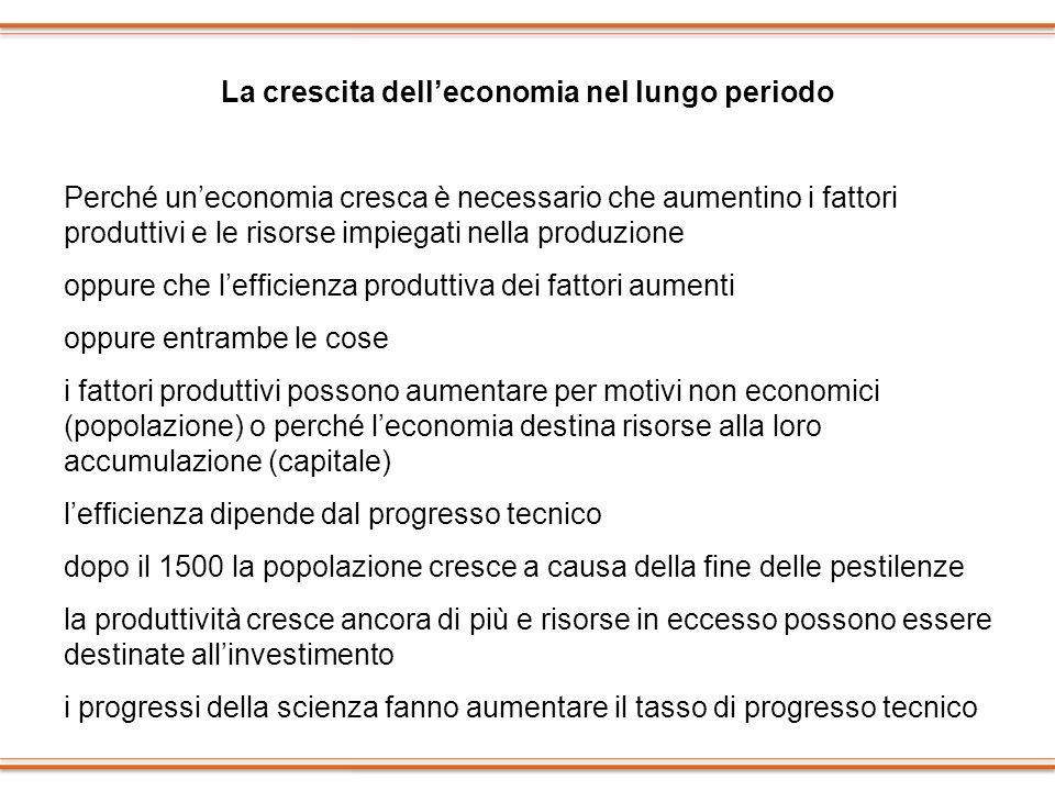 La crescita delleconomia nel lungo periodo Perché uneconomia cresca è necessario che aumentino i fattori produttivi e le risorse impiegati nella produ