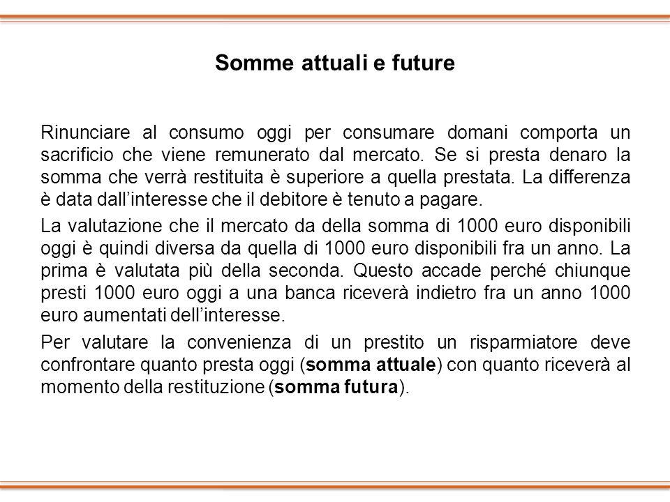 Somme attuali e future Rinunciare al consumo oggi per consumare domani comporta un sacrificio che viene remunerato dal mercato. Se si presta denaro la