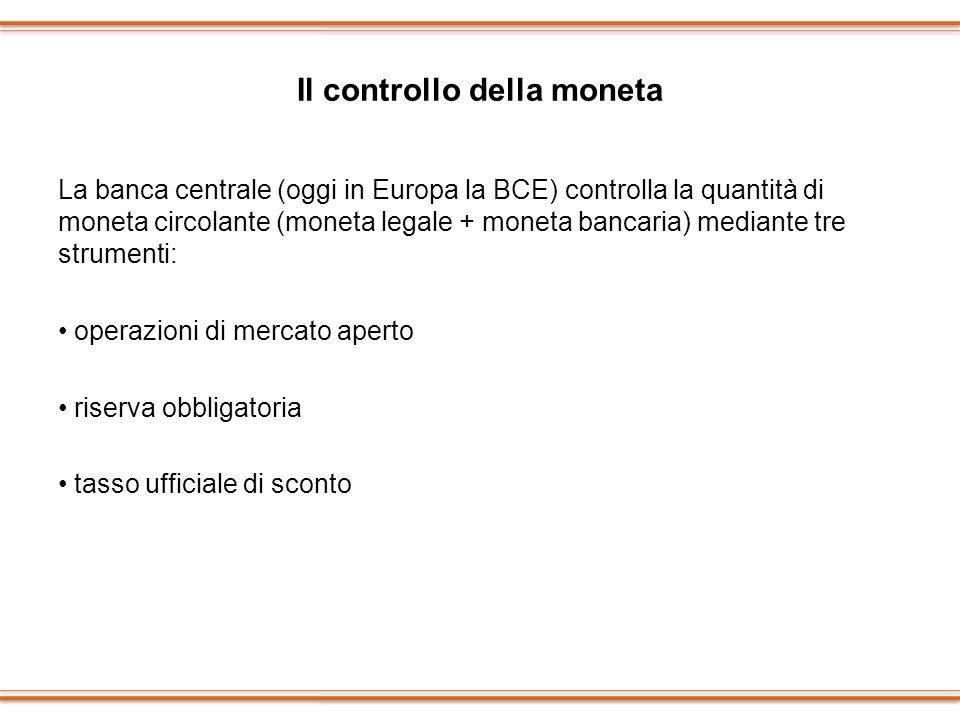 Il controllo della moneta La banca centrale (oggi in Europa la BCE) controlla la quantità di moneta circolante (moneta legale + moneta bancaria) media