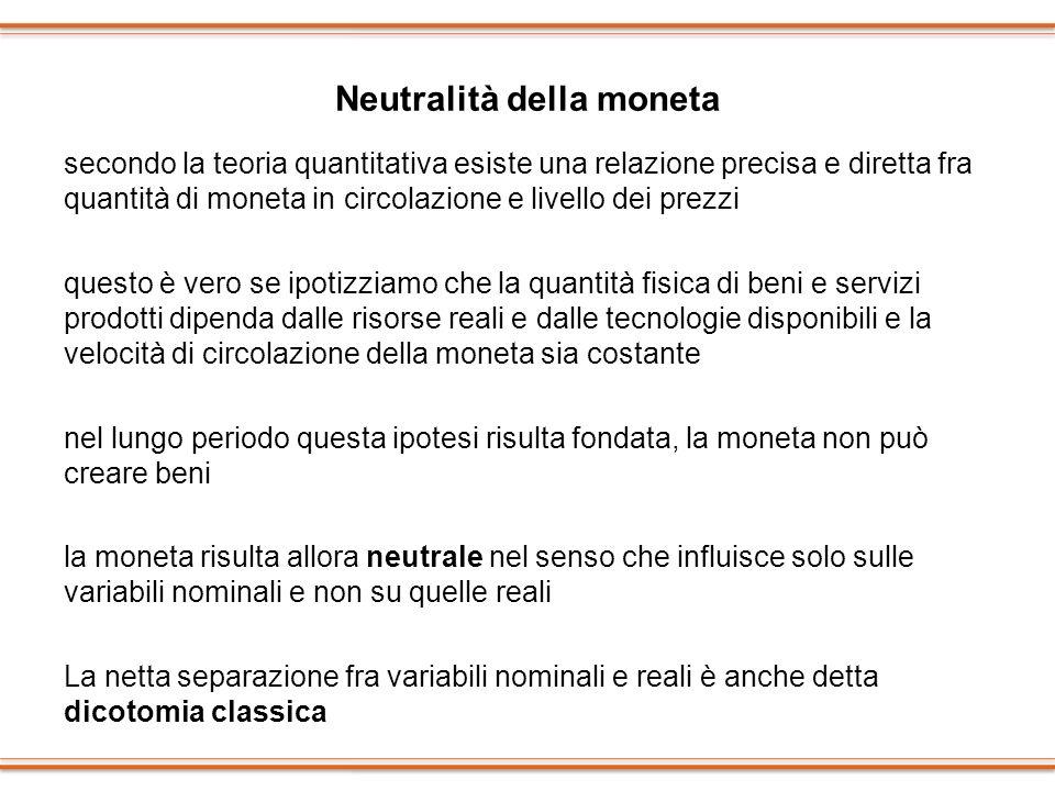 Neutralità della moneta secondo la teoria quantitativa esiste una relazione precisa e diretta fra quantità di moneta in circolazione e livello dei pre