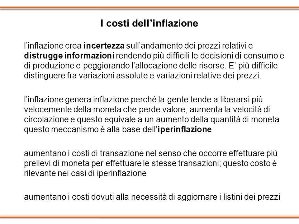 I costi dellinflazione linflazione crea incertezza sullandamento dei prezzi relativi e distrugge informazioni rendendo più difficili le decisioni di c