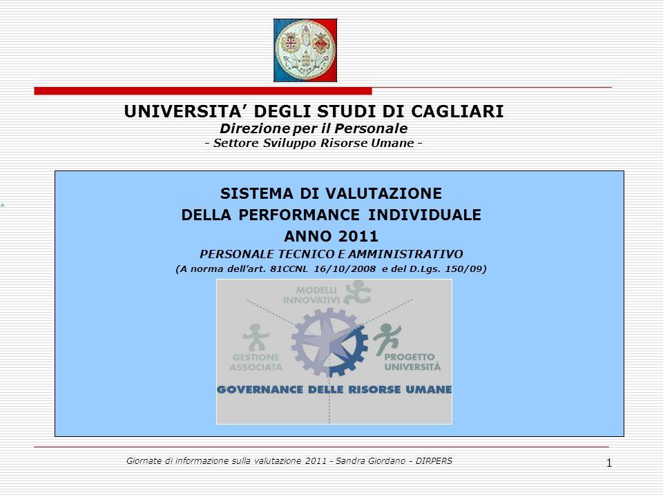 Giornate di informazione sulla valutazione 2011 - Sandra Giordano - DIRPERS 1 SISTEMA DI VALUTAZIONE DELLA PERFORMANCE INDIVIDUALE ANNO 2011 PERSONALE TECNICO E AMMINISTRATIVO (A norma dellart.