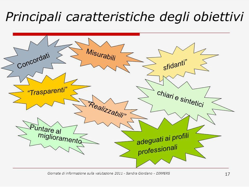 Giornate di informazione sulla valutazione 2011 - Sandra Giordano - DIRPERS 17 Principali caratteristiche degli obiettivi Realizzabili adeguati ai profili professionali Puntare al miglioramento sfidanti Misurabili Concordati chiari e sintetici Trasparenti