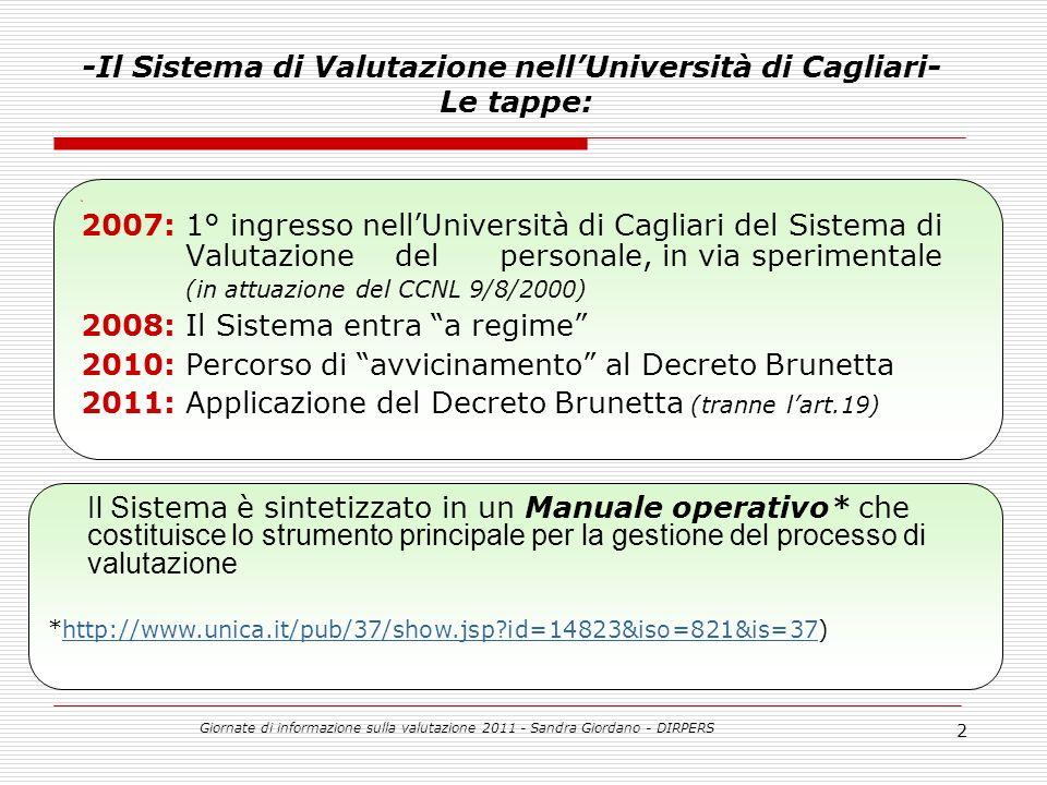 Giornate di informazione sulla valutazione 2011 - Sandra Giordano - DIRPERS 23 CAT.