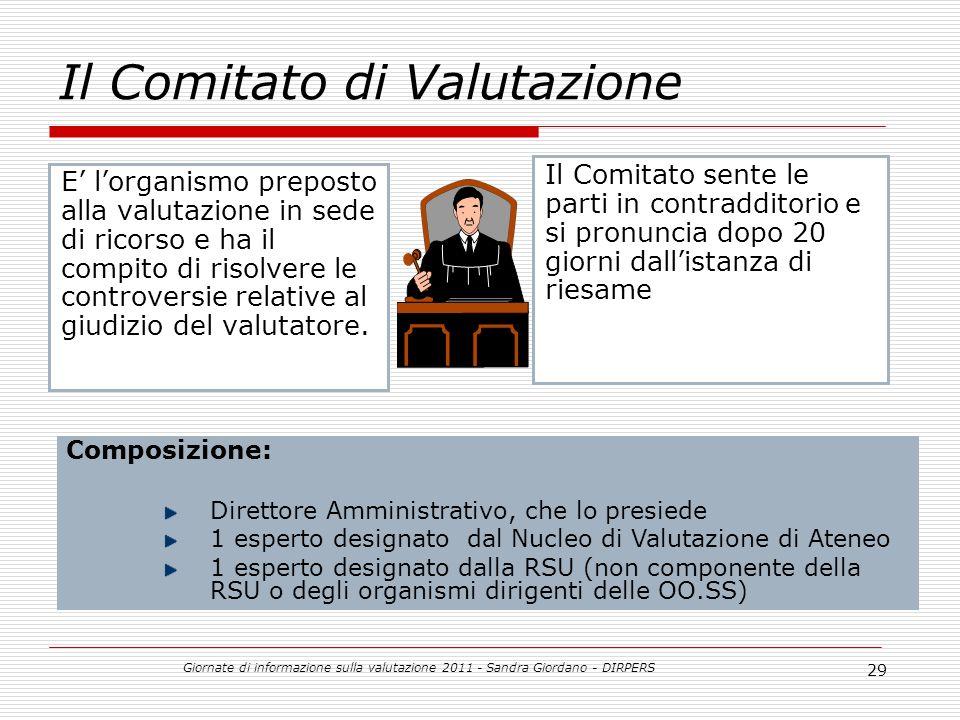Giornate di informazione sulla valutazione 2011 - Sandra Giordano - DIRPERS 29 Il Comitato di Valutazione E lorganismo preposto alla valutazione in sede di ricorso e ha il compito di risolvere le controversie relative al giudizio del valutatore.
