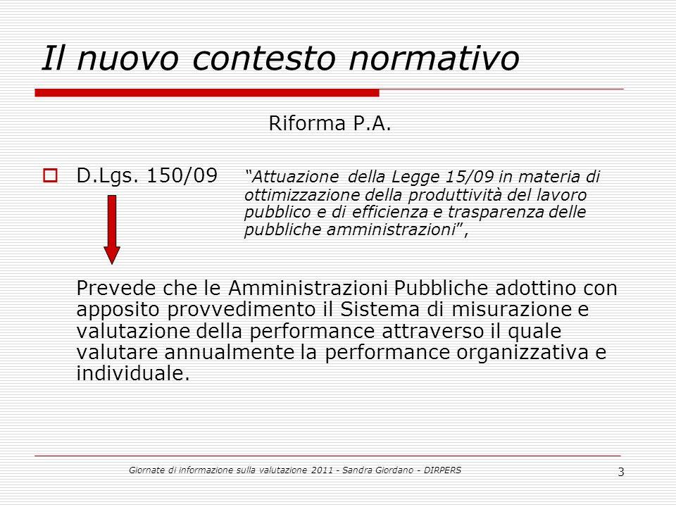 Giornate di informazione sulla valutazione 2011 - Sandra Giordano - DIRPERS 4 Il ciclo di gestione della performance Con il D.Lgs.