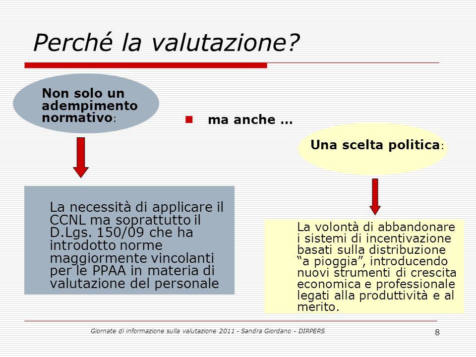 Giornate di informazione sulla valutazione 2011 - Sandra Giordano - DIRPERS 8 Perché la valutazione.