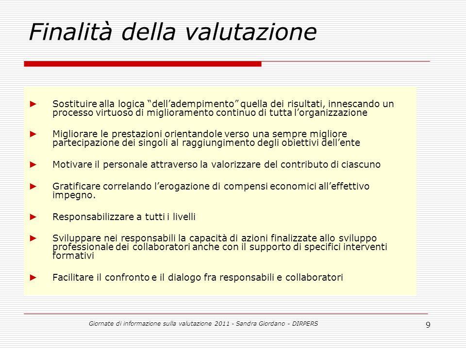 Giornate di informazione sulla valutazione 2011 - Sandra Giordano - DIRPERS 20 Chi sono i valutatori.
