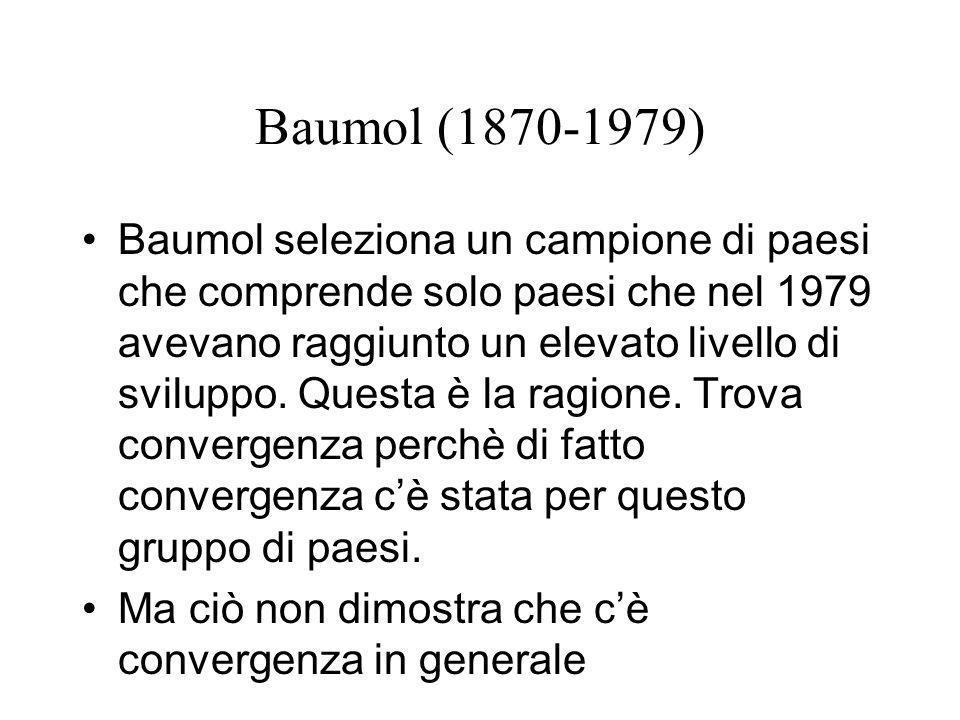 Baumol (1870-1979) Baumol seleziona un campione di paesi che comprende solo paesi che nel 1979 avevano raggiunto un elevato livello di sviluppo. Quest