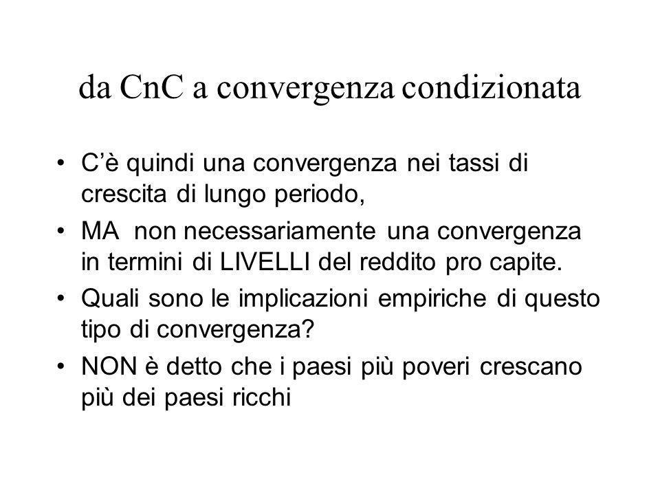 da CnC a convergenza condizionata Cè quindi una convergenza nei tassi di crescita di lungo periodo, MA non necessariamente una convergenza in termini