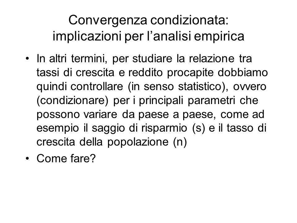 Convergenza condizionata: implicazioni per lanalisi empirica In altri termini, per studiare la relazione tra tassi di crescita e reddito procapite dob