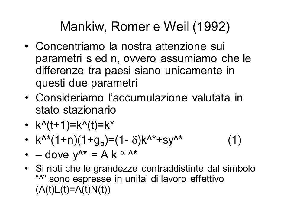 Mankiw, Romer e Weil (1992) Concentriamo la nostra attenzione sui parametri s ed n, ovvero assumiamo che le differenze tra paesi siano unicamente in q