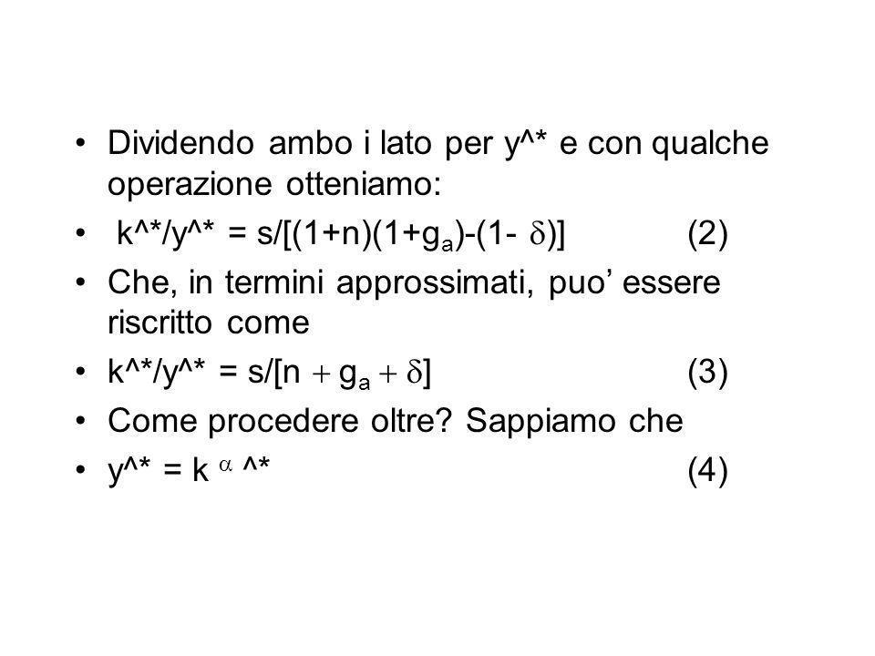 Dividendo ambo i lato per y^* e con qualche operazione otteniamo: k^*/y^* = s/[(1+n)(1+g a )-(1- )] (2) Che, in termini approssimati, puo essere riscr