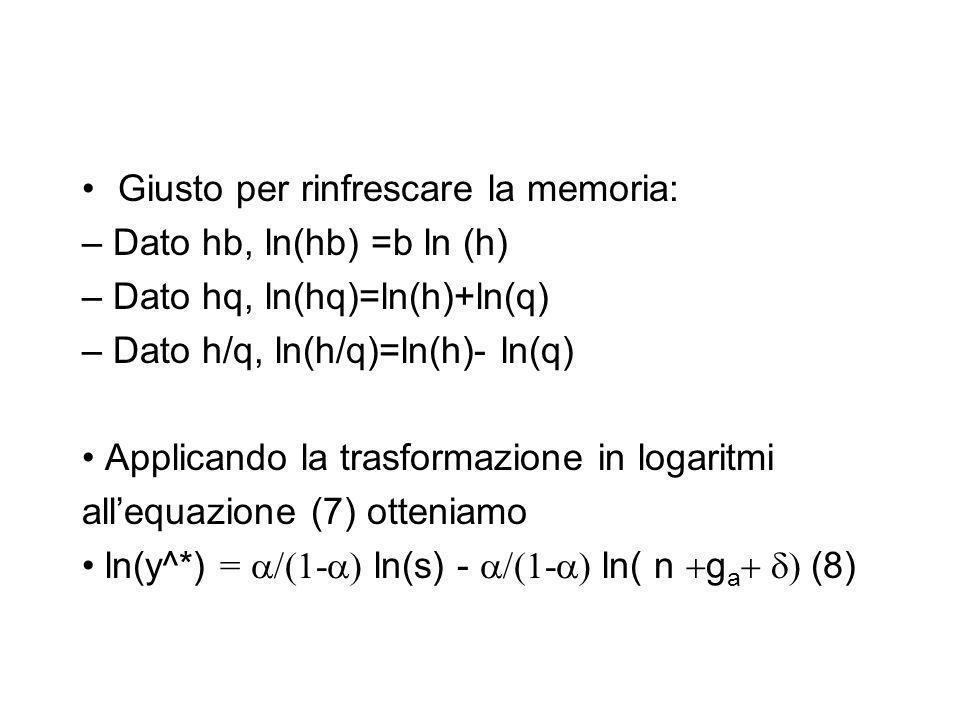 Giusto per rinfrescare la memoria: – Dato hb, ln(hb) =b ln (h) – Dato hq, ln(hq)=ln(h)+ln(q) – Dato h/q, ln(h/q)=ln(h)- ln(q) Applicando la trasformaz