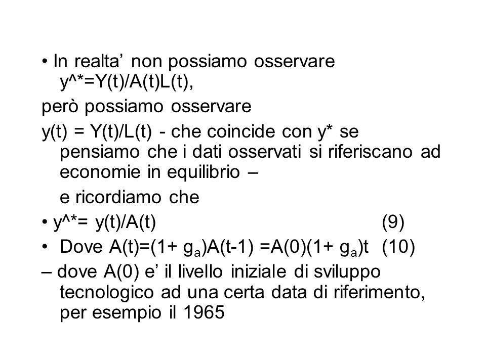 In realta non possiamo osservare y^*=Y(t)/A(t)L(t), però possiamo osservare y(t) = Y(t)/L(t) - che coincide con y* se pensiamo che i dati osservati si