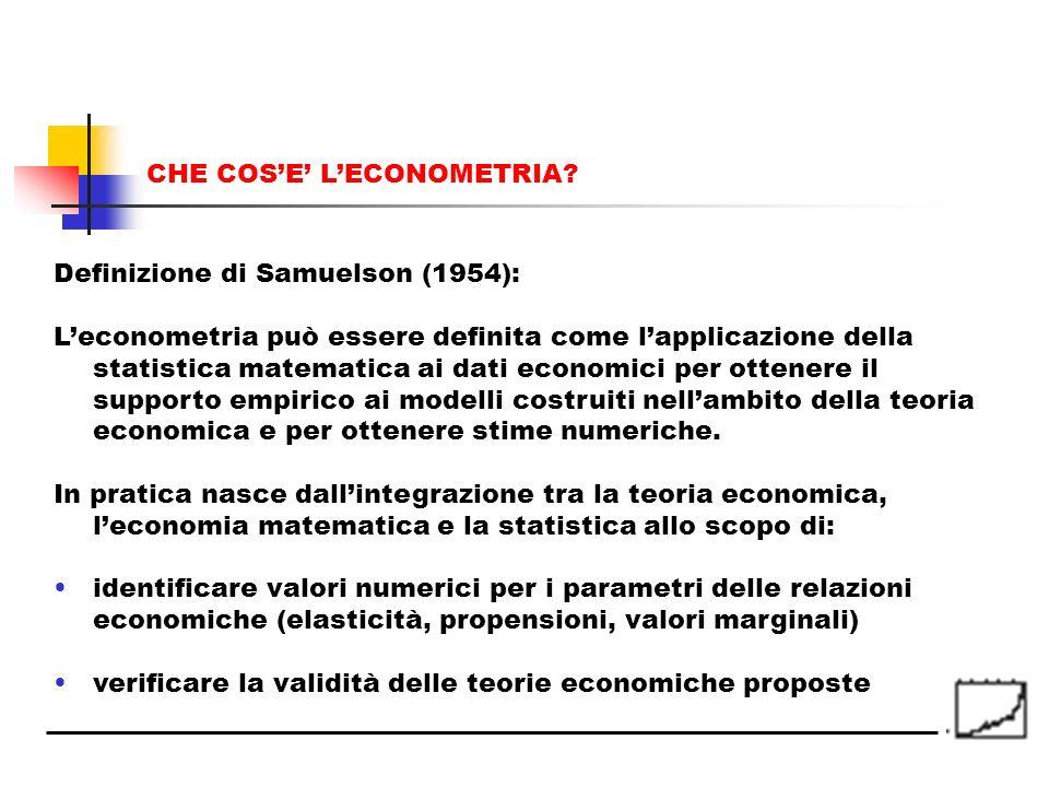 CHE COSE LECONOMETRIA? Definizione di Samuelson (1954): Leconometria può essere definita come lapplicazione della statistica matematica ai dati econom