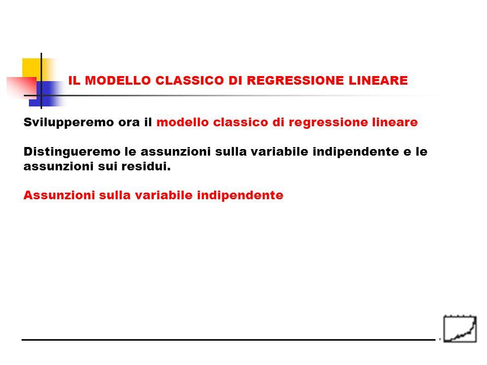 Svilupperemo ora il modello classico di regressione lineare Distingueremo le assunzioni sulla variabile indipendente e le assunzioni sui residui. Assu