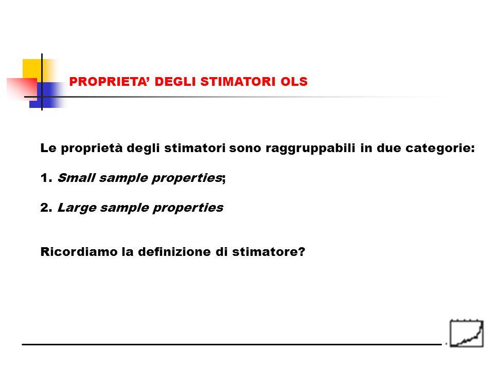 Le proprietà degli stimatori sono raggruppabili in due categorie: 1. Small sample properties; 2. Large sample properties Ricordiamo la definizione di
