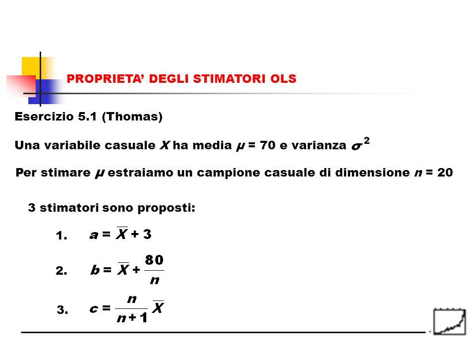 Esercizio 5.1 (Thomas) Una variabile casuale X ha media μ = 70 e varianza Per stimare μ estraiamo un campione casuale di dimensione n = 20 3 stimatori