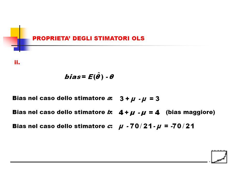 (bias maggiore) ii. PROPRIETA DEGLI STIMATORI OLS Bias nel caso dello stimatore a: Bias nel caso dello stimatore b: Bias nel caso dello stimatore c: