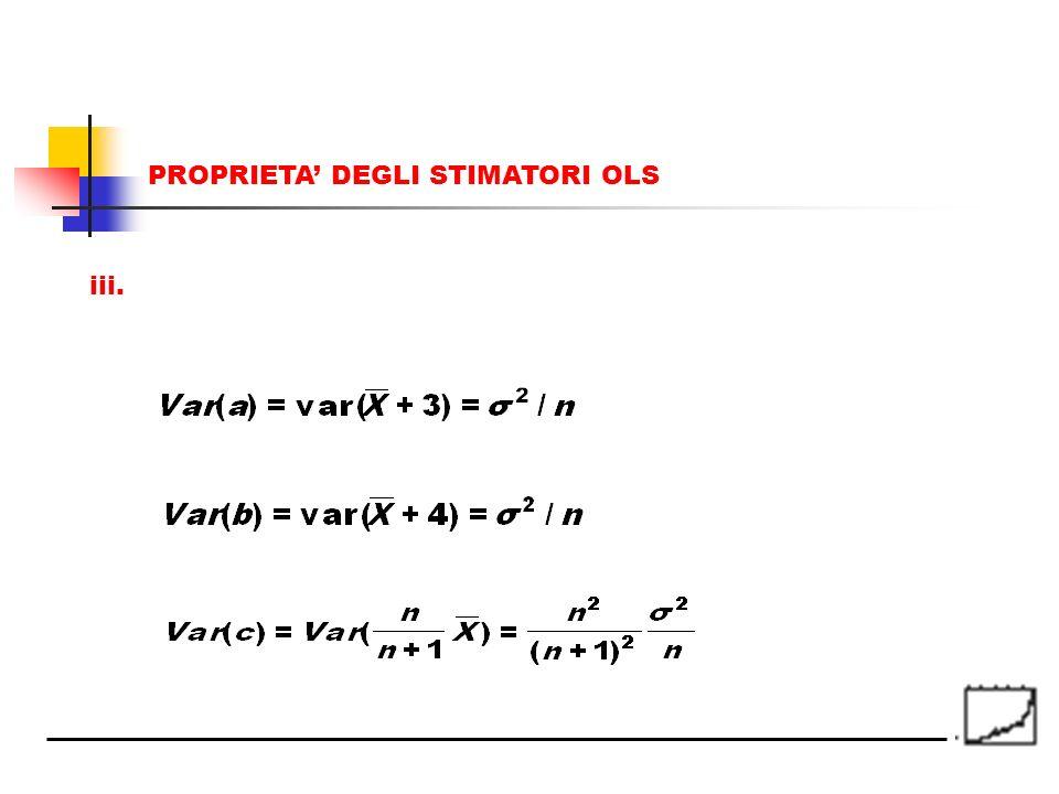 iii. PROPRIETA DEGLI STIMATORI OLS