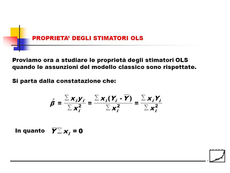In quanto Proviamo ora a studiare le proprietà degli stimatori OLS quando le assunzioni del modello classico sono rispettate. Si parta dalla constataz