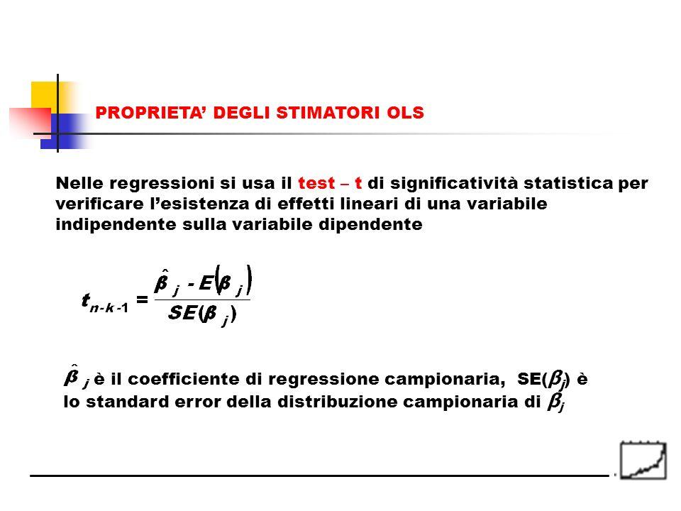Nelle regressioni si usa il test – t di significatività statistica per verificare lesistenza di effetti lineari di una variabile indipendente sulla va