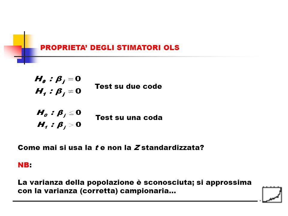Test su due code Test su una coda Come mai si usa la t e non la Z standardizzata? NB: La varianza della popolazione è sconosciuta; si approssima con l