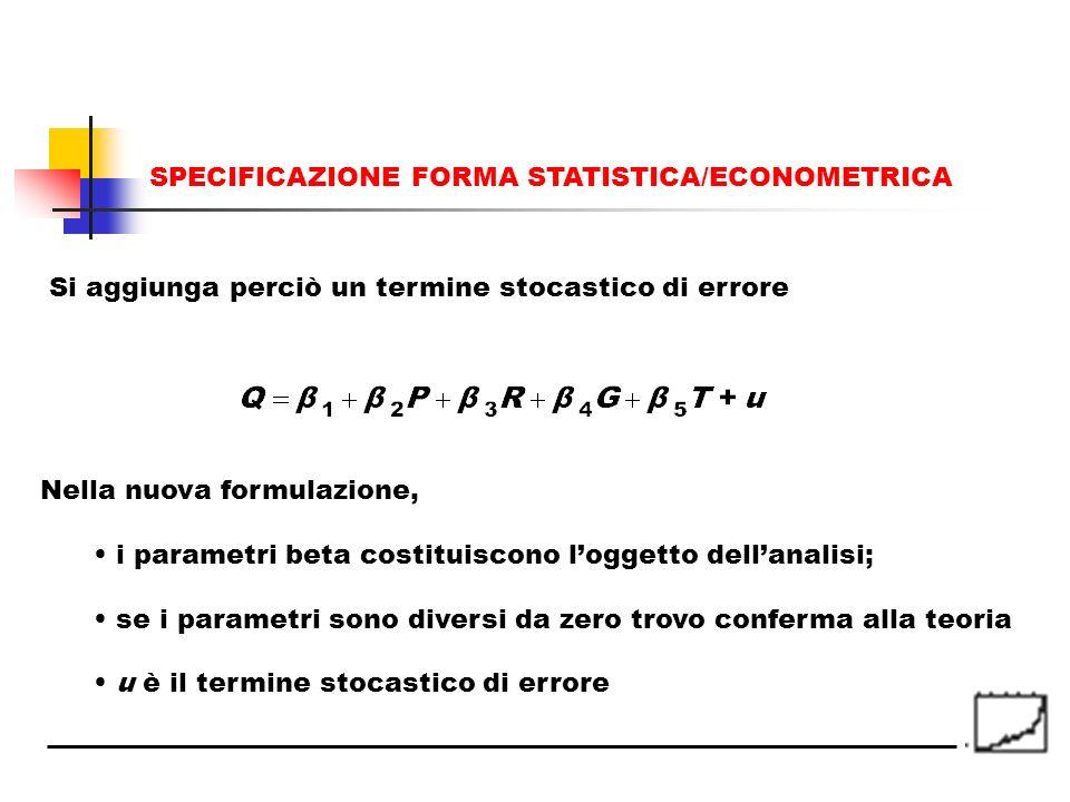 Si aggiunga perciò un termine stocastico di errore Nella nuova formulazione, i parametri beta costituiscono loggetto dellanalisi; se i parametri sono