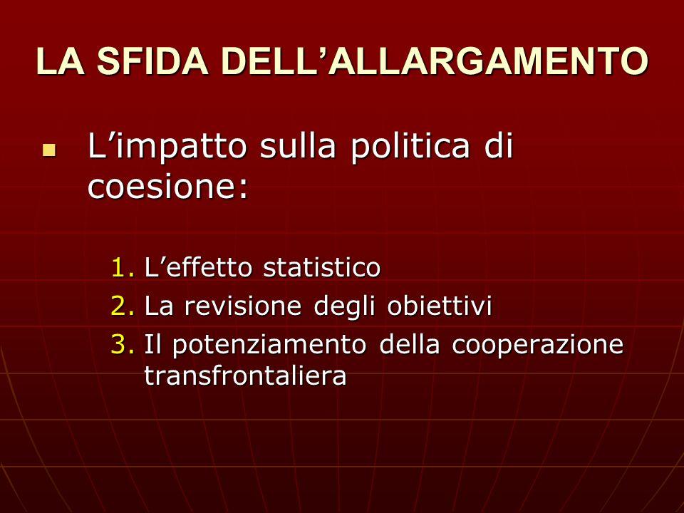 LA SFIDA DELLALLARGAMENTO Limpatto sulla politica di coesione: Limpatto sulla politica di coesione: 1.Leffetto statistico 2.La revisione degli obietti