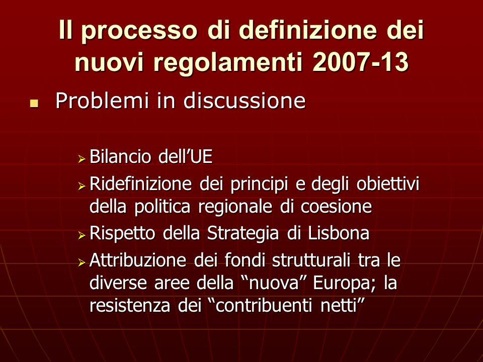 Il processo di definizione dei nuovi regolamenti 2007-13 Problemi in discussione Problemi in discussione Bilancio dellUE Bilancio dellUE Ridefinizione
