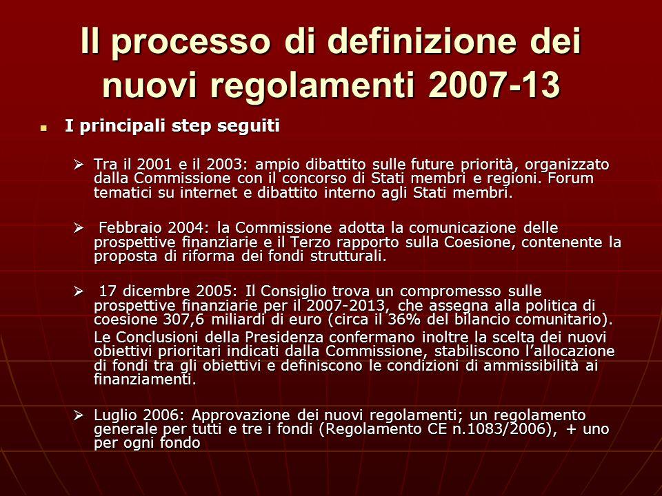 Il processo di definizione dei nuovi regolamenti 2007-13 I principali step seguiti I principali step seguiti Tra il 2001 e il 2003: ampio dibattito su