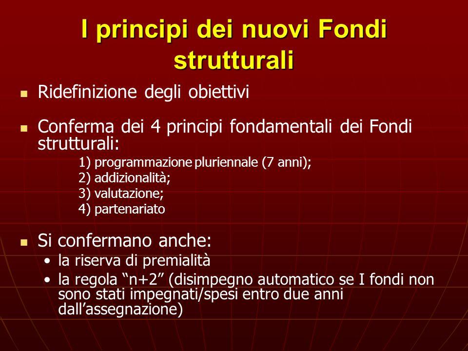 I principi dei nuovi Fondi strutturali Ridefinizione degli obiettivi Conferma dei 4 principi fondamentali dei Fondi strutturali: 1) programmazione plu